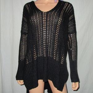Naked Wardrobe M Black Crochet Oversize Sweater